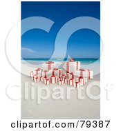 Royalty Free RF Clipart Illustration Of A 3d Group Of Yellow And Red Christmas Presents On A Tropical Beach by Frank Boston