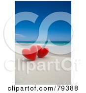 Couple Of 3d Red Hearts On A Tropical Beach