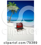 Royalty Free RF Clipart Illustration Of A 3d Laptop With Christmas Presents On The Screen Near Palm Trees On A Tropical Beach