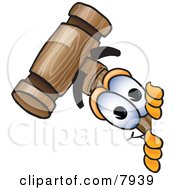 Clipart Picture Of A Mallet Mascot Cartoon Character Peeking Around A Corner by Toons4Biz