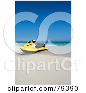 Royalty Free RF Clipart Illustration Of A Yellow 3d Jet Ski On A Tropical Beach by Frank Boston