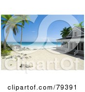 Royalty Free RF Clipart Illustration Of A 3d Beachfront Home Under Palm Trees On A Tropical Beach by Frank Boston