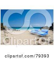 Pair Of 3d Blue Modern Beach Chairs On A Tropical Beach