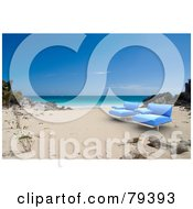 Royalty Free RF Clipart Illustration Of A Pair Of 3d Blue Modern Beach Chairs On A Tropical Beach by Frank Boston