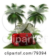 Royalty Free RF Clipart Illustration Of A Stack Of 3d Red Luggage On A Grassy Mat Under Palm Trees by Frank Boston