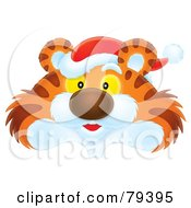 Royalty Free RF Stock Illustration Of An Airbrushed Tiger Face Wearing A Santa Hat by Alex Bannykh