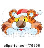 Royalty Free RF Stock Illustration Of A Cartoon Tiger Face Wearing A Santa Hat by Alex Bannykh