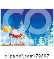 Royalty Free RF Stock Illustration Of Santa Sleeping With His Sack On A Snowy Roof Top