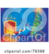 Royalty Free RF Stock Illustration Of Santa Sleeping By The Warmth Of A Fire Near A Christmas Tree