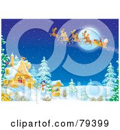 Royalty Free RF Stock Illustration Of Santas Magic Sleigh And Reindeer Flying Over A Winter House