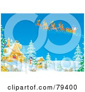 Royalty Free RF Stock Illustration Of Santas Sleigh And Magic Reindeer Flying Over A Winter House