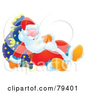 Royalty Free RF Stock Illustration Of A Snoozing Airbrushed Santa Leaning Against His Sack With A Spilled Bottle Of Bubbly