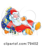 Royalty Free RF Stock Illustration Of A Snoozing Cartoon Santa Leaning Against His Sack With A Spilled Bottle Of Bubbly