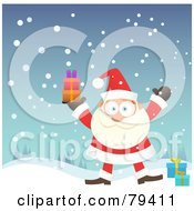 Royalty Free RF Stock Illustration Of Santa Standing In The Snow And Holding Up A Stack Of Gifts