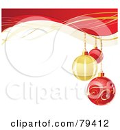 Royalty Free RF Stock Illustration Of A Christmas Background With Three Red And Golden Baubles Over White With An Upper Border Of Red And Gold Waves by Pushkin