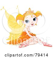 Pretty Little Orange Winged Fairy Girl In Ballet Slippers And A Tutu Sitting On The Ground