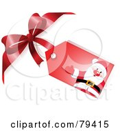 Red Santa Gift Tag Attached To A Red Bow