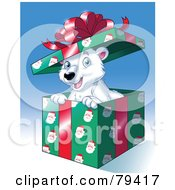 Happy Christmas Polar Bear Popping Out Of A Gift Box With Santa Wrapping Paper