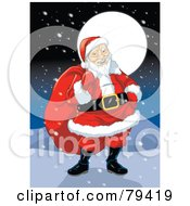 Royalty Free RF Stock Illustration Of An Asian Santa Claus Carrying His Sack On A Snowy Night by Lawrence Christmas Illustration