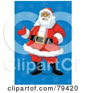 Royalty Free RF Stock Illustration Of An African American Santa Claus Standing In A Jolly Pose Over A Blue Snowflake Background by Lawrence Christmas Illustration
