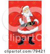 Royalty Free RF Stock Illustration Of An Asian Santa Claus Carrying His Sack Over A Red Snowflake Background