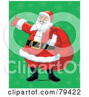 Royalty Free RF Stock Illustration Of A Caucasian Santa Laughing And Carrying His Toy Sack Over A Green Snowflake Background