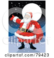 Royalty Free RF Stock Illustration Of A Jolly Caucasian Santa Claus Carrying His Sack On A Snowy North Pole Night