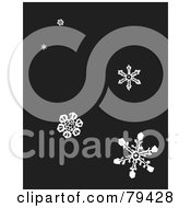 Dark Gray Background With White Falling Winter Snowflakes