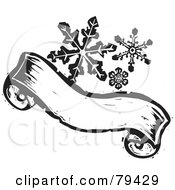 Black And White Snowflakes Over A Carved Textured Christmas Banner