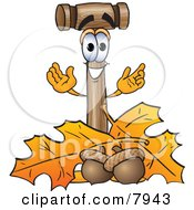 Mallet Mascot Cartoon Character With Autumn Leaves And Acorns In The Fall