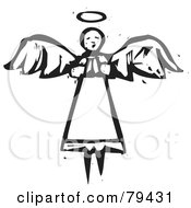 Black And White Flying Angel In Prayer With A Carved Texture