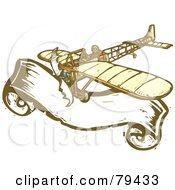 Royalty Free RF Stock Illustration Of A Bleriot Pilot Flying His Plane Over A Large Banner With A Carved Texture