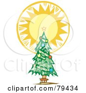 Royalty Free RF Stock Illustration Of A Trimmed Christmas Tree With A Bright Shining Tree Topper Star by xunantunich