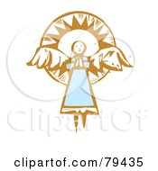 Royalty Free RF Stock Illustration Of A Praying Angel Flying In Frnt Of The Sun With A Carved Texture