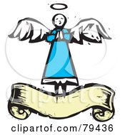 Royalty Free RF Stock Illustration Of A Praying Angel Over A Yellow Blank Banner With A Carved Texture