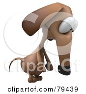 Royalty Free RF Clipart Illustration Of A 3d Brown Pookie Wiener Dog Character Pouting