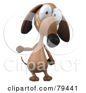 Royalty Free RF Clipart Illustration Of A 3d Brown Pookie Wiener Dog Character Standing And Gesturing