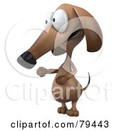 Royalty Free RF Clipart Illustration Of A 3d Brown Pookie Wiener Dog Character Facing To The Left