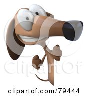 Royalty Free RF Clipart Illustration Of A 3d Brown Pookie Wiener Dog Character Looking Around A Sign Board Version 2