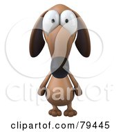 3d Brown Pookie Wiener Dog Character Facing Front