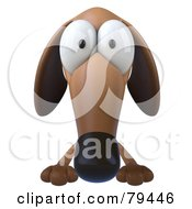 Royalty Free RF Clipart Illustration Of A 3d Brown Pookie Wiener Dog Character With Big Eyes