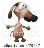 3d Brown Pookie Wiener Dog Character Shrugging