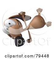Royalty Free RF Clipart Illustration Of A 3d Brown Pookie Wiener Dog Character Doing A Hand Stand Version 1