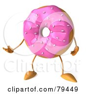 Royalty Free RF Clipart Illustration Of A 3d Strawberry Frosted Doughnut Gesturing