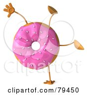 Royalty Free RF Clipart Illustration Of A 3d Strawberry Frosted Doughnut Doing A Hand Stand