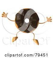 Royalty Free RF Clipart Illustration Of A 3d Chocolate Frosted Doughnut Character Jumping