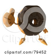 Royalty Free RF Clipart Illustration Of A 3d Chocolate Frosted Doughnut Character Holding His Thumb Up
