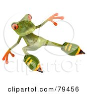 Royalty Free RF Clipart Illustration Of A 3d Springer The Tree Frog Character Roller Blading Version 4