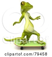 Royalty Free RF Clipart Illustration Of A 3d Pico Gecko Character Skateboarding Version 2 by Julos