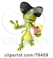3d Pico Gecko Character Wearing Shades And Sipping Juice